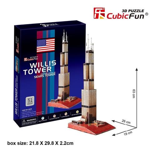 c083h sears willis tower rompecabezas 3d 51 piezas cubic fun