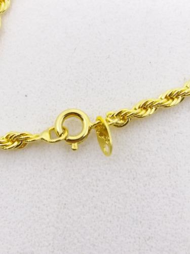 c104 corrente cordão baiano e crucifixo folheados a ouro 18k