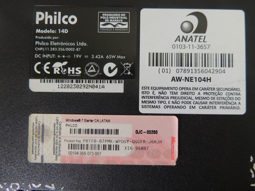 c2 chassi base notebook philco 14d- p723ws usado