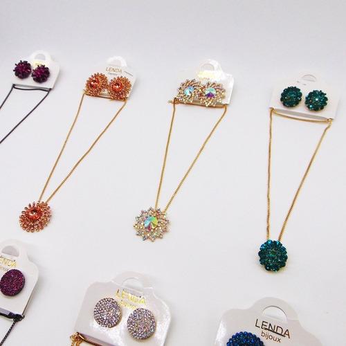 c/20 conjunto luxo colar cordao  brincos bijuteria atacado