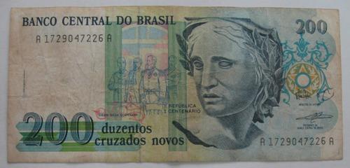 c208 bela cédula 200 cruz. novos  1989   escassa oferta