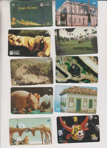 c22 - 10 cartões telefônicos coleção o lote por r$ 9,00