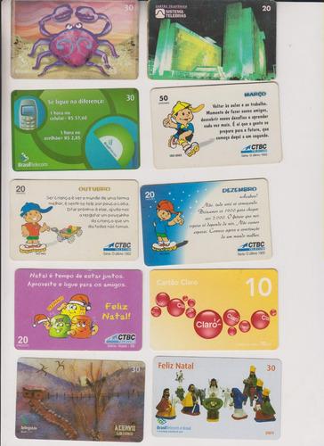 c28 - 10 cartões telefônicos coleção o lote por r$ 9,00