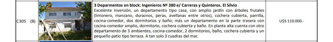 c305  ingenieros nº 380 e/ carreras y quinteros mar de ajo