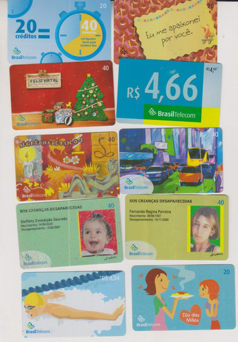 c38 - 10 cartões telefônicos coleção o lote por r$ 9,00