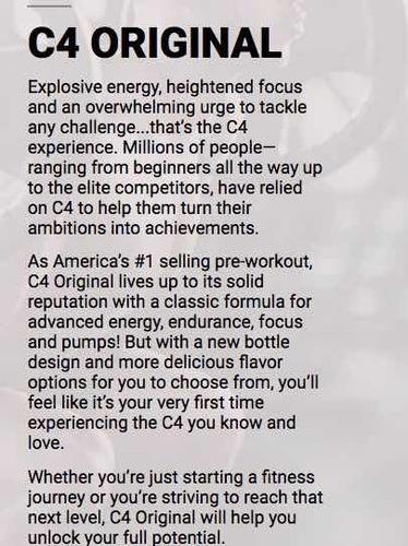 c4 pre entreno-pre workout cellucor 30 serv unique store cr