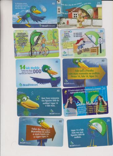 c42 - 10 cartões telefônicos coleção o lote por r$ 9,00