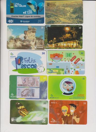 c49 - 10 cartões telefônicos coleção o lote por r$ 9,00