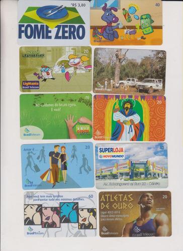 c53 - 10 cartões telefônicos coleção o lote por r$ 9,00