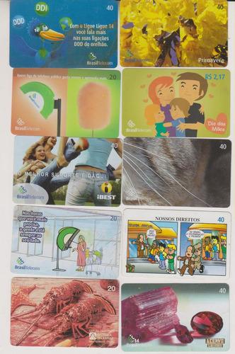 c56 - 10 cartões telefônicos coleção o lote por r$ 9,00