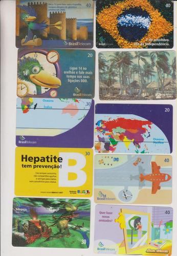c60 - 10 cartões telefônicos coleção o lote por r$ 9,00