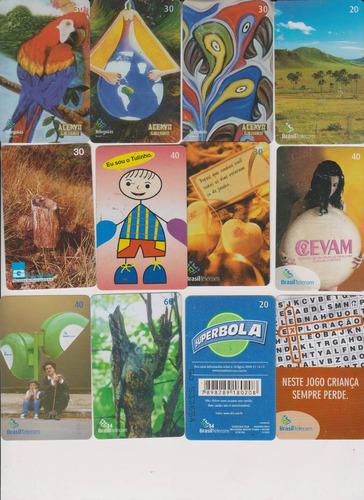 c63 - 10 cartões telefônicos coleção o lote por r$ 9,00
