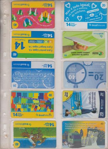c97a - 10 cartões telefônicos coleção o lote por r$ 9,00