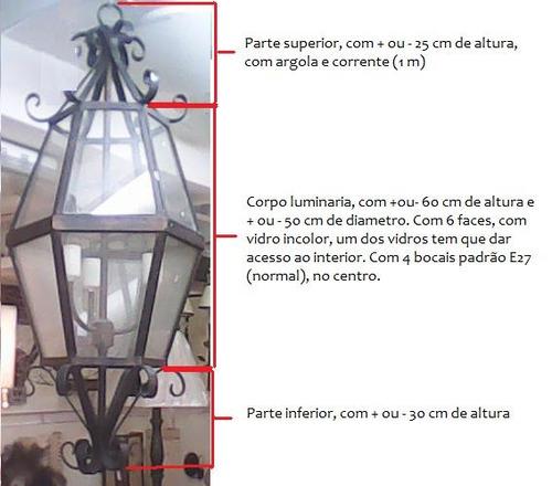 ca126 lustre artesanal em ferro- luminaria lampião 3 braços