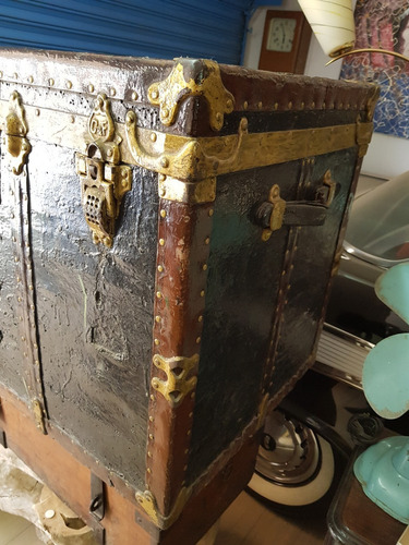 ca.1880 antigo baúl de madera crouch and fitzgerald