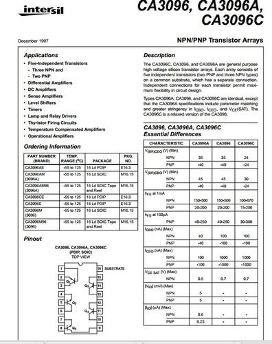ca3096 / arreglo de transistores /electronica