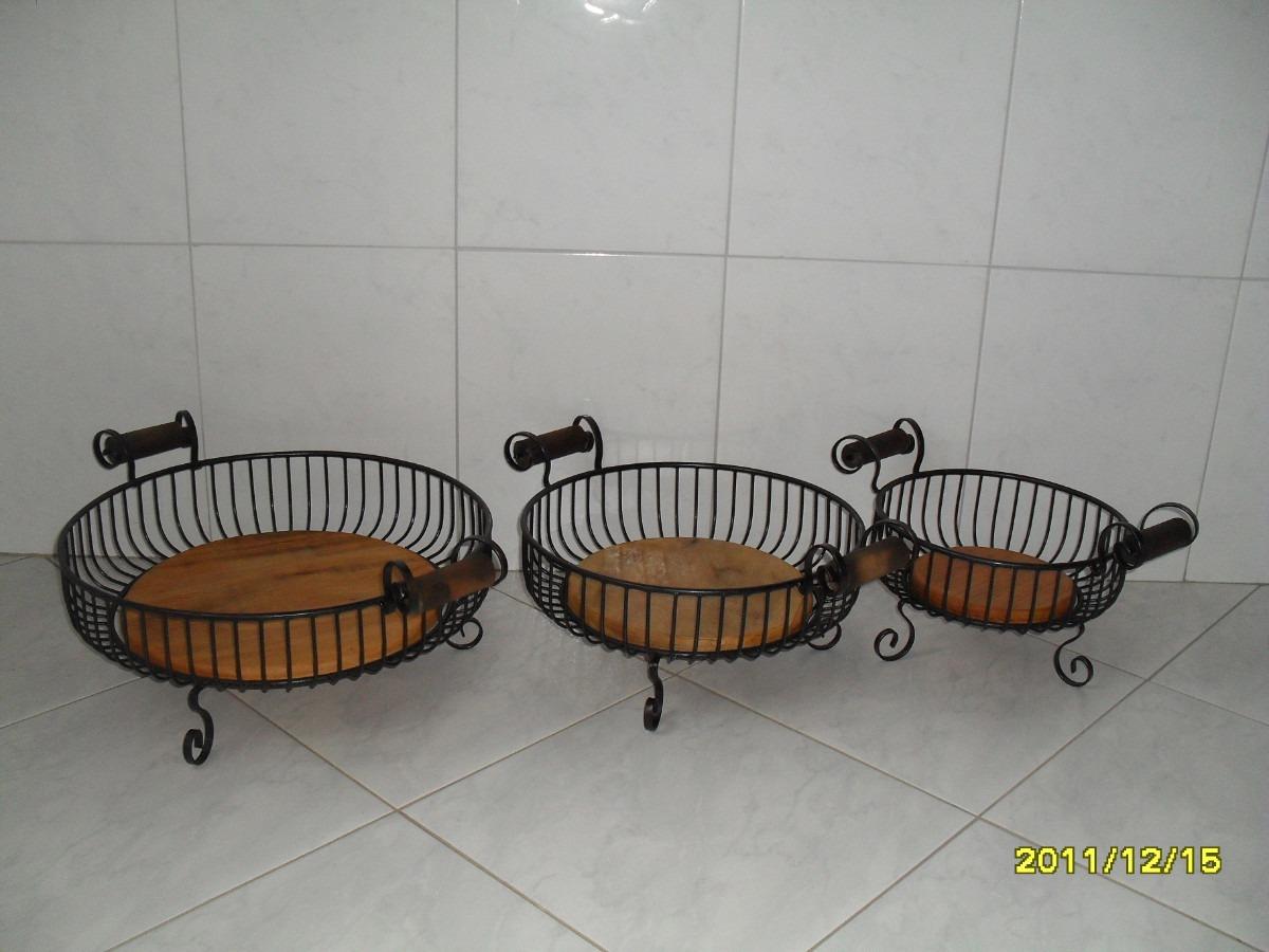 Armario Escritorio ~ Ca707 Jg De Fruteiras Com Alça Ferro E Madeira Arte Mg R$ 462,00 em Mercado Livre