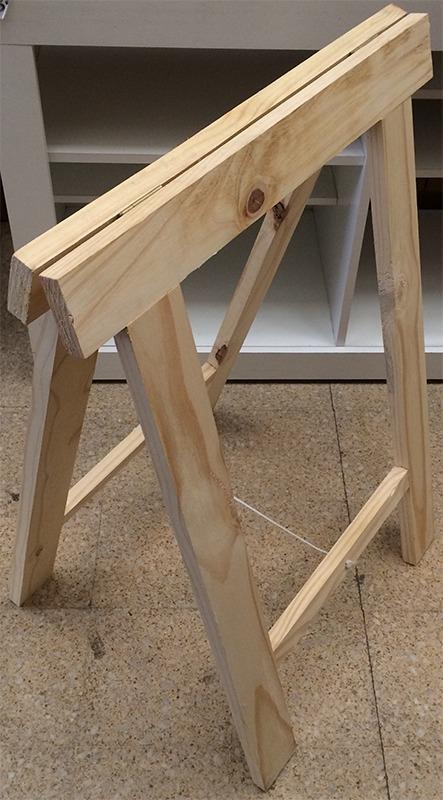 Caballete de madera maciza soporte para mesa tablon lcm for Tablon madera maciza