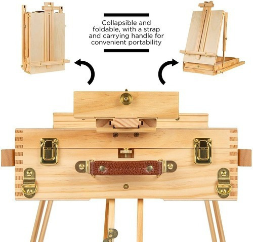 caballete francés wooden sketch box arte plegable portátil