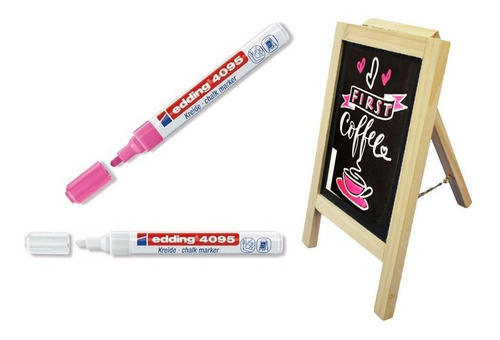 caballete tablero de tiza con 2 marcadores de tiza liquida