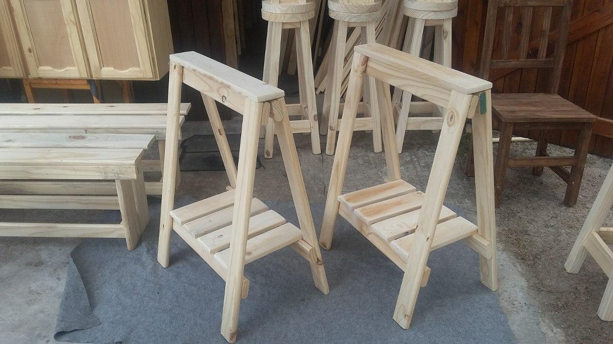 Caballetes con estante para escritorio madera maciza - Caballetes de madera ...