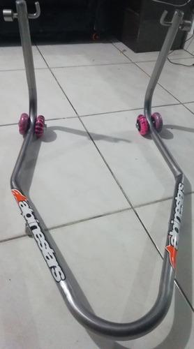 caballetes en acero inoxidable doble rueda para moto