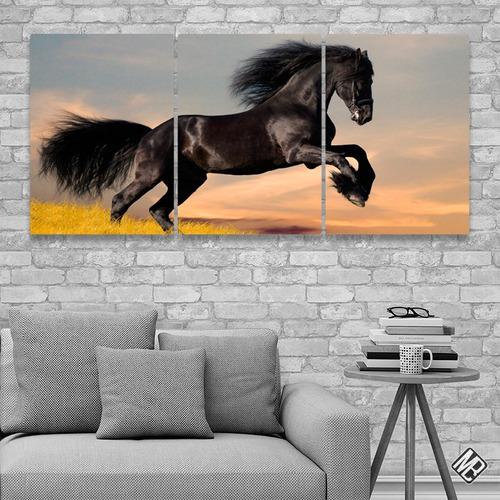 caballos cuadros modernos tripticos 132x62cms catalogo an23