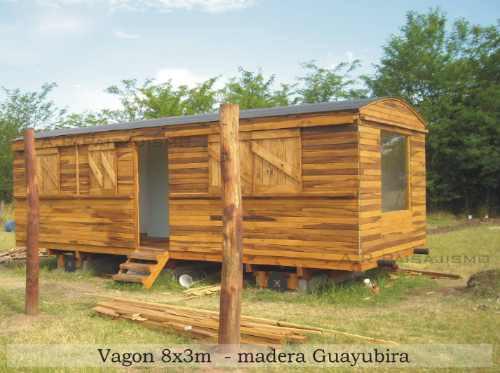 cabaña de madera replica vagon tren estilo galpon 24m2
