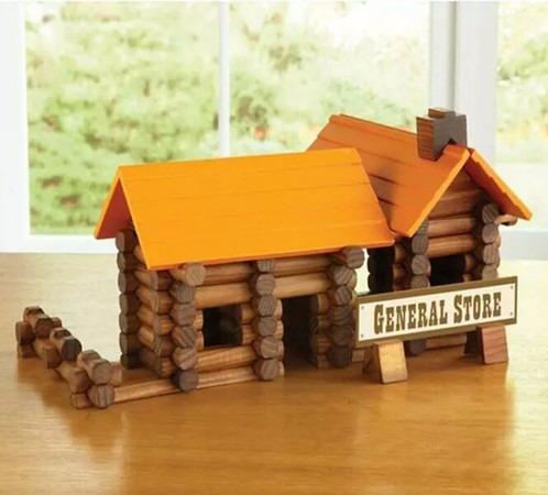 cabaña de troncos de madera para construcción.