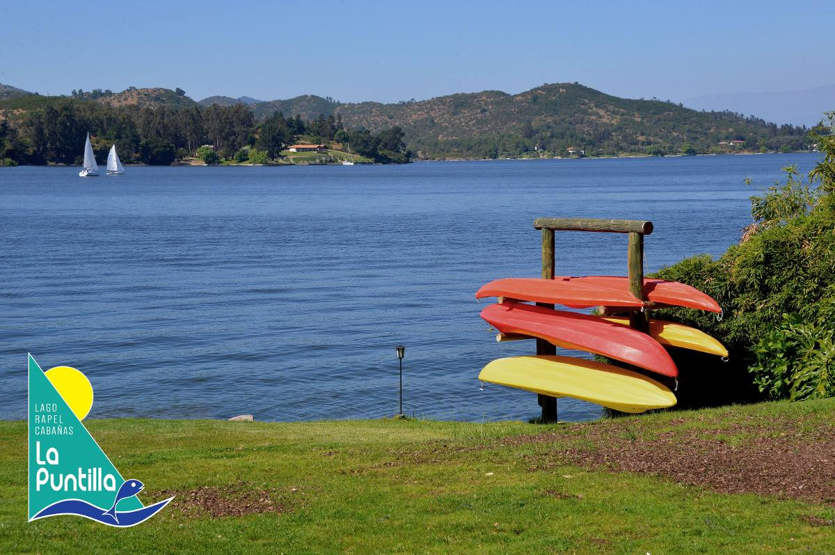 cabañas en lago rapel, orilla de lago, marina, piscina,
