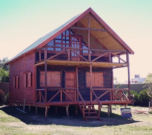 cabañas madera estilo inglés, frente 1/2 tronco con deck