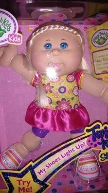 cabbage patch kids muñeca, zapatos brillantes, navidad