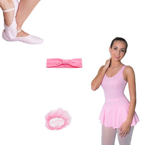 f12c970fb4 Cabbles Kit Ballet Rosa 5 Peças Dança Collant Sapatilha Meia