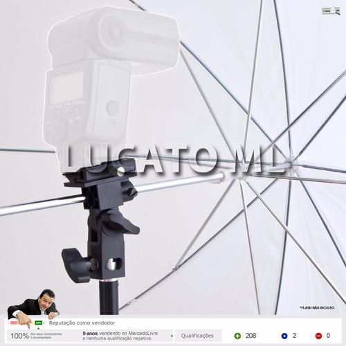 cabeça articulada bracket b p/ flash + sombrinha + tripé np