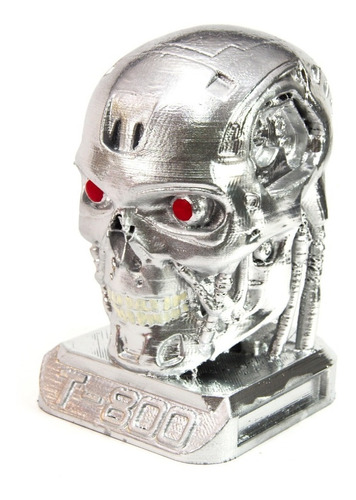 cabeça boneco t800 exterminador do futuro cromada 8cm