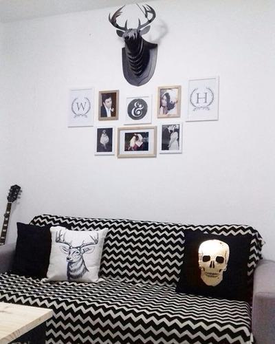 cabeça de alce/cervo/veado preto decoração de parede