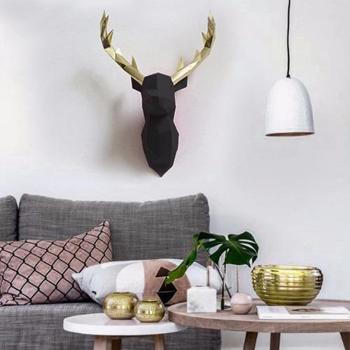 cabeça de alce/cervo/veado preto e dourado decoraç de parede