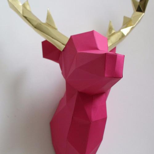 cabeça de alce/cervo/veado rosa e dourad decoração de parede