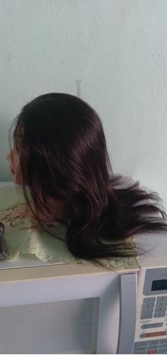 cabeça  de boneca  com cabelo natural