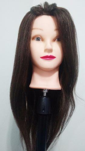 cabeça de boneca mista 80% natural e 20% sint 45 cm e suport