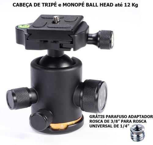 cabeça de tripé monopé ball head suporta até 12kg