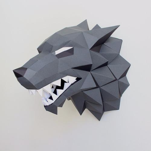cabeça do lobo stark para decoração de parede feito em papel