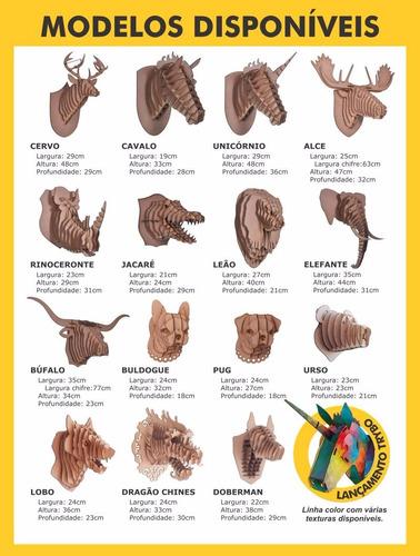 cabeça mdf 3d - alce, rinoceronte, elefante, urso ...