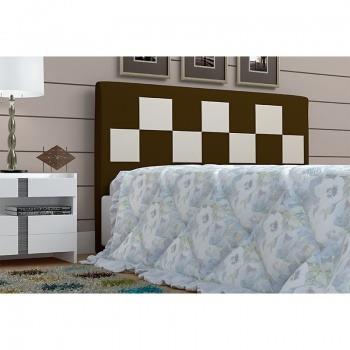 cabeceira box de casal glenda com 140 cm tabaco/branco