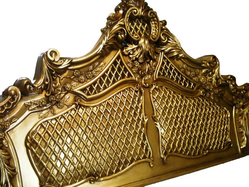 cabeceira clássica dourada luis xv  queen ricos detalhes