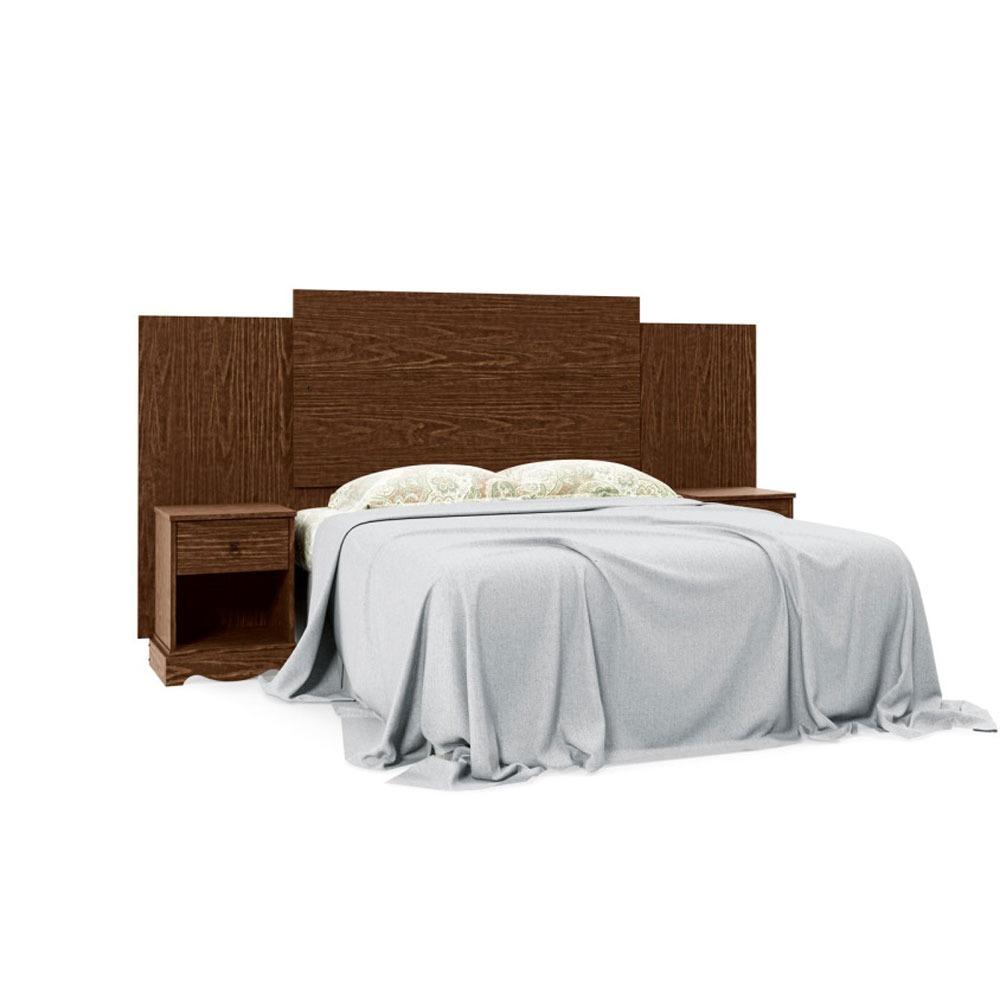 Cabeceira de cama box casal queen com criado mudo madeira for Tipos de camas queen