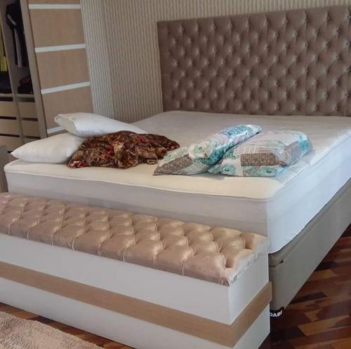 cabeceira de cama modelo placas e capitonê  sob medida