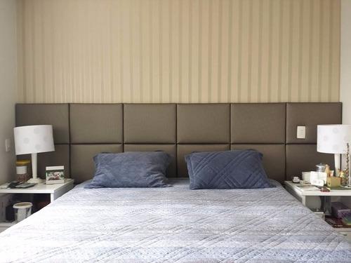 cabeceira estofada painel cama módulo unitário linho / facto