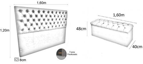 cabeceira long com puff baú para cama queen 1,60m