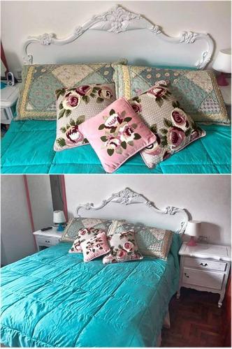 cabecera de cama en cedro con piecera baul dormitorios